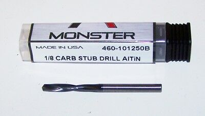 "1/8"" (.1250"") solid carbide stub drill  - AlTiN Coated - 460-101250B"