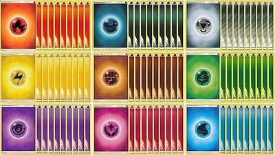 Pokemon 90x Basic Energy Cards (10x of Each Type Including Fairy Darkness Metal)