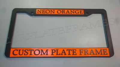 (FLORESCENT NEON ORANGE BLACK LETTER TAG HOLDER CUSTOM TEXT License Plate Frame)