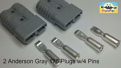 Anderson Style Sb175 Connector Kit Gray 6325g5 2 Connectors 4 Pins 02 4 Awg