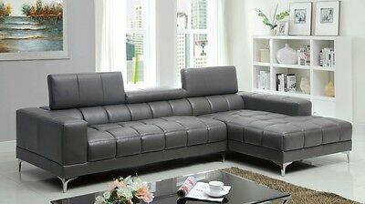 Contemporary Chrome Leg Sectional Gray Sofa Living Room Furniture Bonded Leather Chrome Sectional Sofa