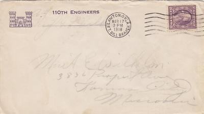 1918, AEF: 110th Engineers, Fort Sill, OK, Corner Card (M1615)
