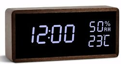 FIBISONIC Digital Alarm Wooden Table Clock Adjustable Brightness Voice Control