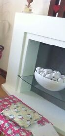 White Electric Fire Place with Stone bowl