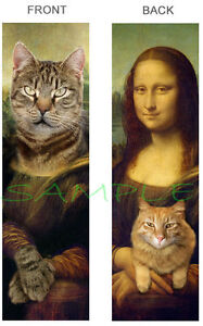 CAT-MONA-LISA-BOOKMARK-Tabby-Grey-Ginger-Orange-Book-CARD-ART-Painting-Ornament