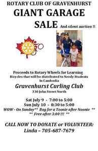 GRAVENHURST ROTARY GIANT GARAGE SALE- July 9 & 10