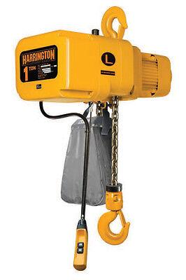 Harrington 1 Ton Electric Chain Hoist 10' Lift Ner Ner010l W/ Chain Cont.