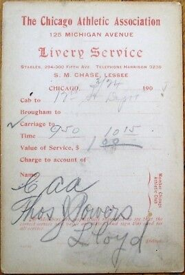 Chicago Athletic Association Livery Service 1901 Taxi Carriage Receipt Card   Il