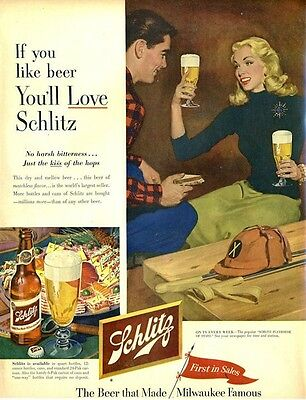 1953 Schlitz PRINT AD Beer Lunch break Polo theme frame for cute art decor ](Beer Themed Decorations)