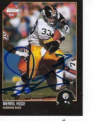 Merril Hoge Signed 1992 Collectors Edge  141   Pittsburgh Steelers