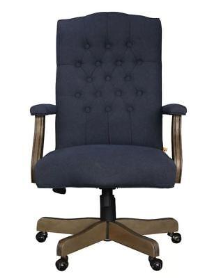 Cute Desk Chair Upholstered Navy Blue Executive Furniture High Back Wood Frame