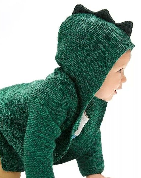 Baby Gap Boys 3-6 Months Green Dinosaur Button Front Sweater Jacket. Nwt