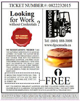 FORKLIFT TRAINING- DGS CANADA $160 No Taxes