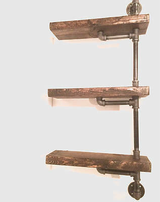 "2""x6""x18"" Industrial Rustic Urban Pipe Wall 3 Tiers Wooden Shelves (pick your ow"