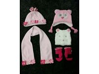 Girls hats, scarf and mittens age 1 - 2 years