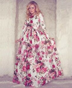 Women-Boho-Floral-Long-Maxi-Evening-Cocktail-Pleated-Dress-Chiffon-size-10-12-14