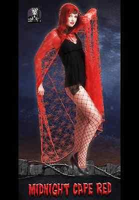Umhang Mitternacht Cape rot Spinnennetz Kostüm Halloween Fasching 121002/04G13 (Rote Halloween Cape)