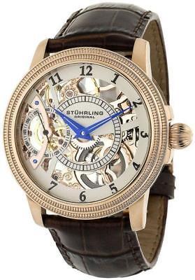 Stuhrling 228 33452 Brumalia Mechanical Skeleton Rose Gold Leather Mens Watch