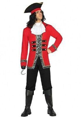 Kostüm Herren Pirat rot schwarz XL Capitaine Zeichnung Zeichentrick- neu billig