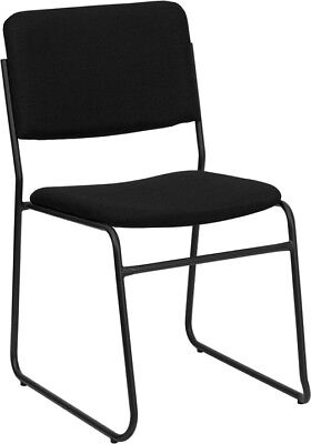 Lot Of 10 Black Fabric Stack Side Guest Chairs