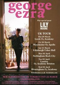 4x George Ezra stalls standing tickets, O2 Brixton Academy London, Tuesday 3rd April 2018
