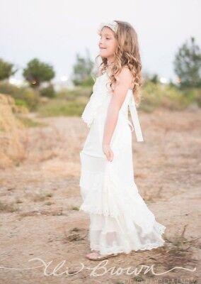 Lace Maxi Flower Girl Dress, Layered Maxi Lace Dress, Lace Boho Girls Dress (Ivory Lace Flower Girl Dress)