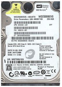 Disque Dur/HD Western Digital 2.5'', 250GB