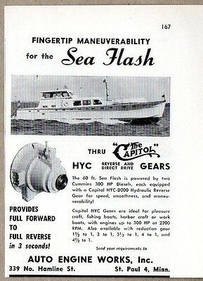 1954 Print Ad The Capitol HYC Reverse Gears 60 ft Sea Flash Boat St Paul,MN