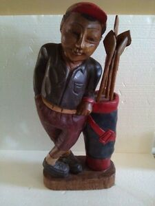 VINTAGE BLACK FOREST WOODEN GOLFER FIGURINE COLLECTIBLE (1920's) London Ontario image 1