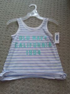 BNWT GIRL'S OLD NAVY WHITE STRIPED TANK + KHAKI SHORTS OUTFIT London Ontario image 3
