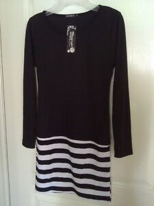 Women's black white striped dress Small New with tags London Ontario image 2