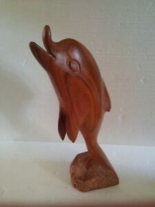 Vintage solid wooden dolphin statue figurine
