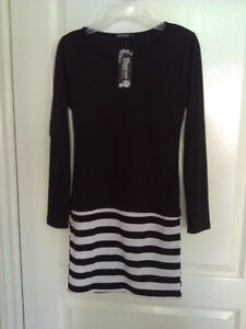 Women's black white striped dress Small New with tags London Ontario image 1