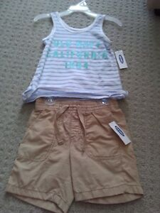 BNWT GIRL'S OLD NAVY WHITE STRIPED TANK + KHAKI SHORTS OUTFIT