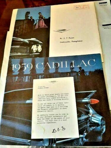 ORIGINAL 1959 Cadillac Full Line Sales Brochure, ENVELOPE w/Memo to Cust LAST 1!