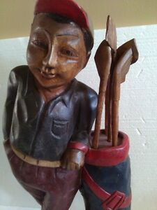 VINTAGE BLACK FOREST WOODEN GOLFER FIGURINE COLLECTIBLE (1920's) London Ontario image 3