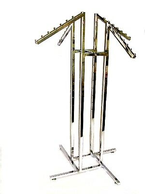 New Chrome 4 Way Clothing Rack 4 Waterfall Arms