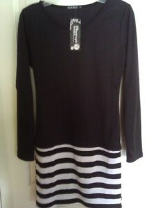 Women's black white striped dress Small New with tags London Ontario image 4
