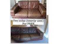 Two heavily used sofas