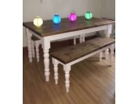 Dining table with benches. Solid oak. Hand made