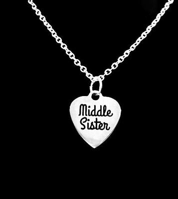 Middle Sister Necklace Heart Sisters Gift Mother's Day Charm Jewelry