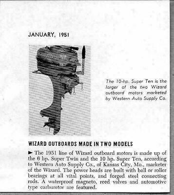 1951 Magazine Photo Wizard 10 HP Super Ten Outboard Motors Western (10 Hp Outboard Motor For Sale Used)