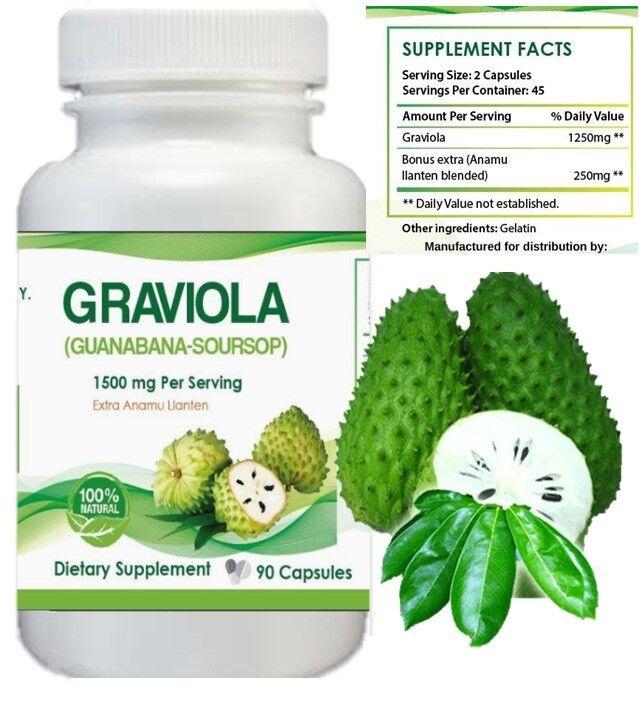 GRAVIOLA EXTRACT 1500 mg 45 days Guanabana Soursop Immune Antioxidant 90 capsule