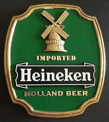 "Heineken Beer Signs - ""Imported Holland Beer"" - Man Cave - Bar - NOS"