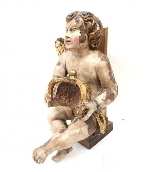 Carved and Painted Cherub, 19th Century, Italy