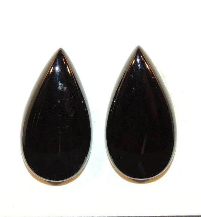 Black Agate Cabochons 28x15mm with 5.5mm dome Set of 2 (9545)