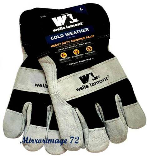 Wells Lamont Cold Weather Heavy Duty Cowhide Palm Gloves, SIZE LARGE