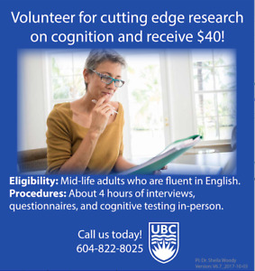 Join our research study on cognition and receive $40!