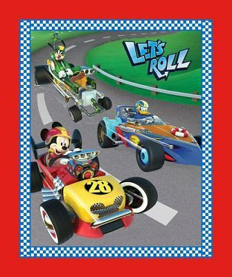 Disney Mickey Friends Let's Roll Race Car 100% Cotton Fabric by the panel for sale  Charlotte