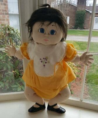 Beautiful Vintage Soft Sculpture Cabbage Patch Type Homemade Doll 1980s